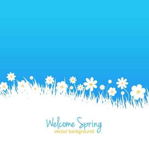 Fundo azul primavera com lugar para texto