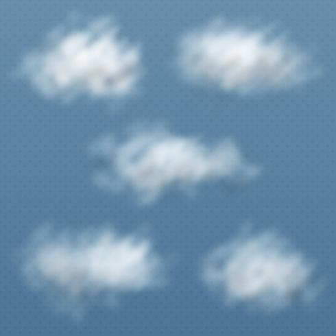 Sats av realistiska och genomskinliga olika moln. Vektor illustration.