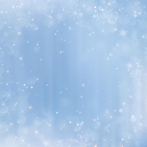 Abstrait Noël avec des flocons de neige. Fond bleu élégant hiver