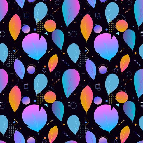 Hojas modernas abstractas coloridas, modelo inconsútil vector
