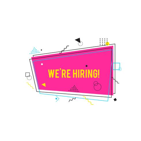 We're hiring symbol,  Business recruiting concept. Pink, magenta hiring banner