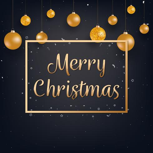 Merry Christmas black background with gold Christmas balls vector