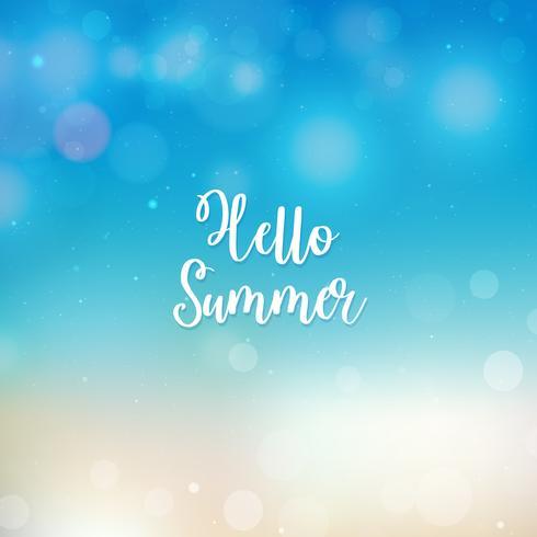 Suddig Hello Summer bakgrund, strand och hav