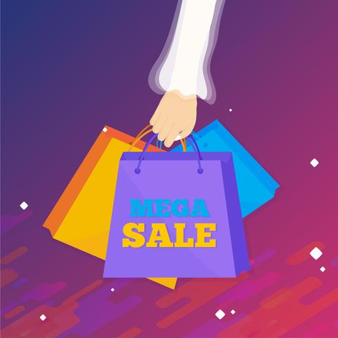Woman hand holding shopping bags. Sale concept