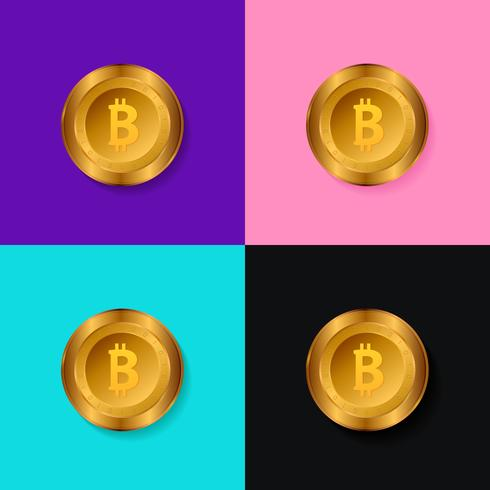 Moeda de ouro de Bitcoin. Ilustração vetorial detalhada isolado.