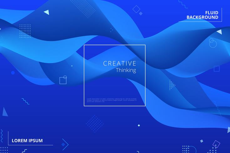 Blauer geometrischer Hintergrund. Flüssigkeit formt Zusammensetzung
