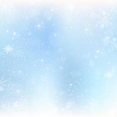 Abstrakt julbakgrund med snöflingor. Blå Elegant Vinterbakgrund