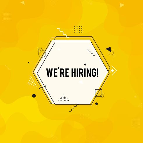 We're hiring symbol,  Business recruiting concept. Yellow hiring banner