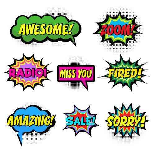 Stripboek woorden. Komische tekstballon ingesteld