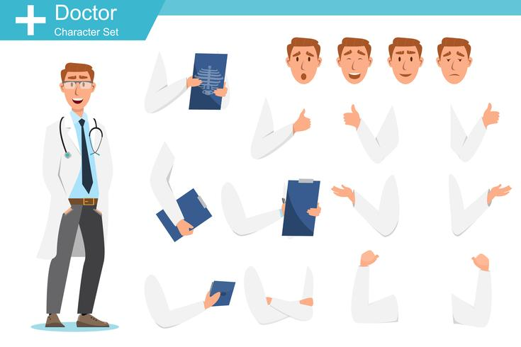 Set of doctor cartoon characters. Medical staff team concept vector