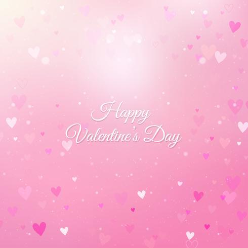 Fondo de San Valentín con corazones y bokeh vector
