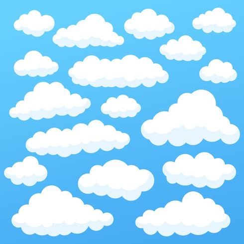 Cartoon clouds isolated on blue sky panorama collection. Cloudscape in blue sky, white cloud illustration
