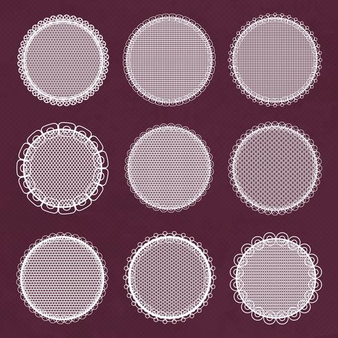 Vector decorative lace frames. Doily templates for logo