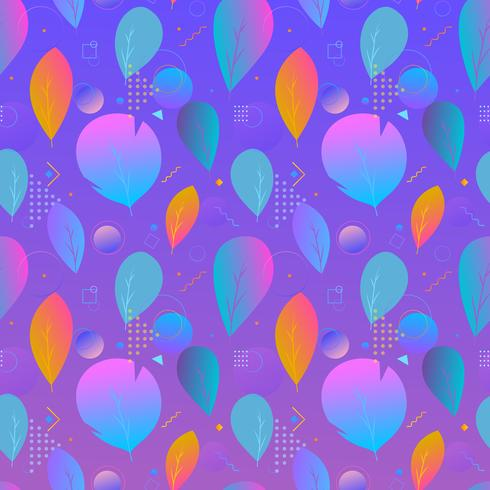 Colorful abstract modern leaves, seamless pattern vector
