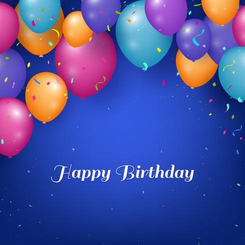 Fondo realista feliz cumpleaños con globos y confeti