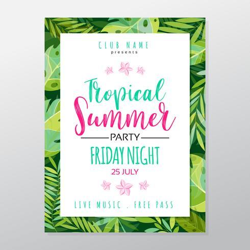 Cartel de fiesta tropical de verano. vector