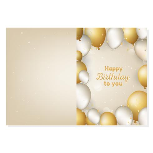 Happy Birthday card with gold and white realistic balloons