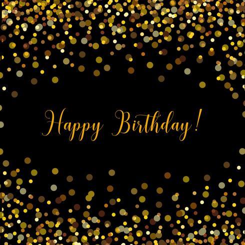 Tarjeta negra de feliz cumpleaños con confeti dorado vector