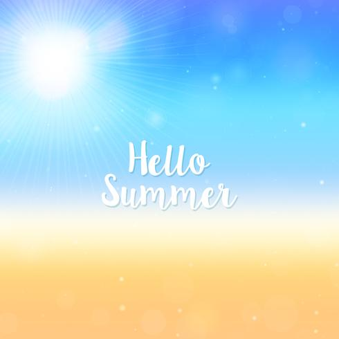 Blurred Hello Summer background, beach and ocean vector