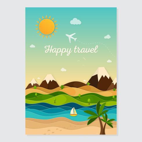 Travel flat concept card. Summer travel card