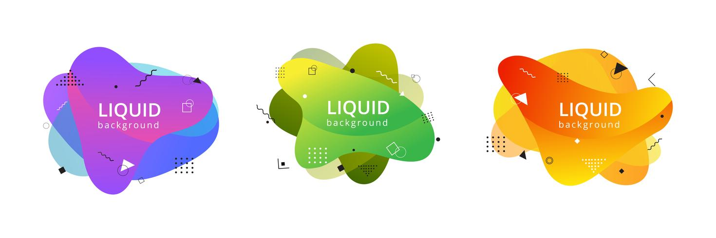 Abstract liquid shape. Fluid design. Isolated gradient waves with geometric lines, dots
