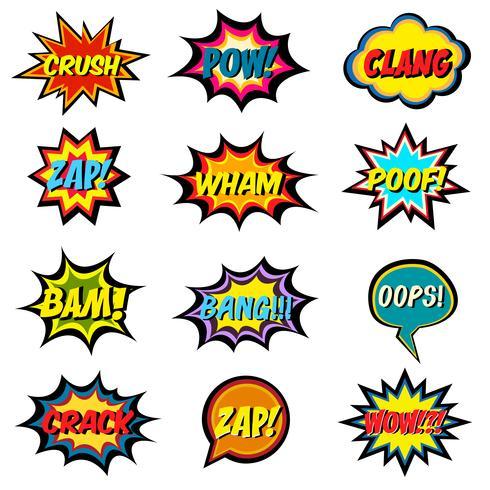 Palavras de quadrinhos. Conjunto de bolha do discurso em quadrinhos