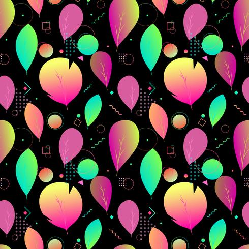 Colorful abstract modern leaves, seamless pattern