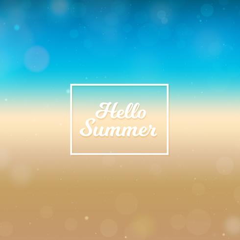 Fondo borroso Hola verano, playa y océano vector