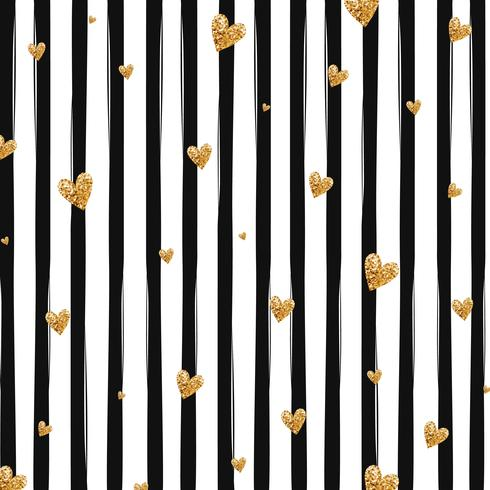 Gold glittering heart confetti seamless pattern on striped background vector