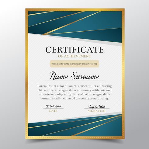 Certifikatmall med lyxig guld- och turkos elegant design, examensdesign, betygsättning, framgång.Vector illustration.