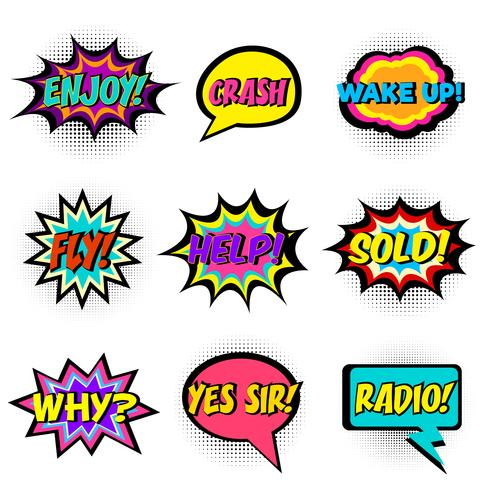 Comic book words. Comic speech bubble set