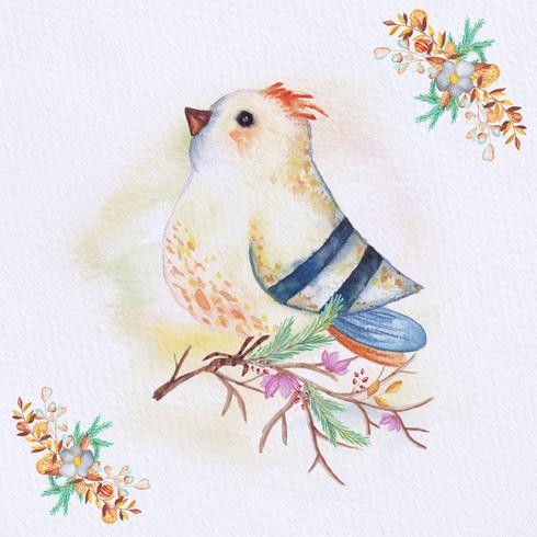 Watercolor bird on a branch