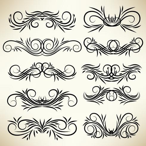 Conjunto de adornos de remolino caligráfico vintage