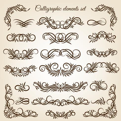 Set ornamenti di turbinio calligrafici d'epoca vettore