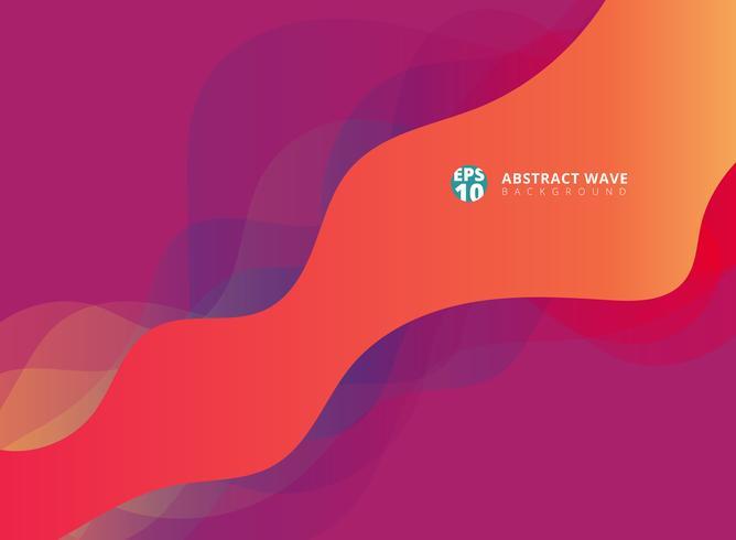 Las ondas modernas abstractas se superponen en fondo púrpura. vector
