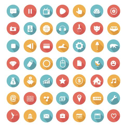 Flat icons collection with long shadow