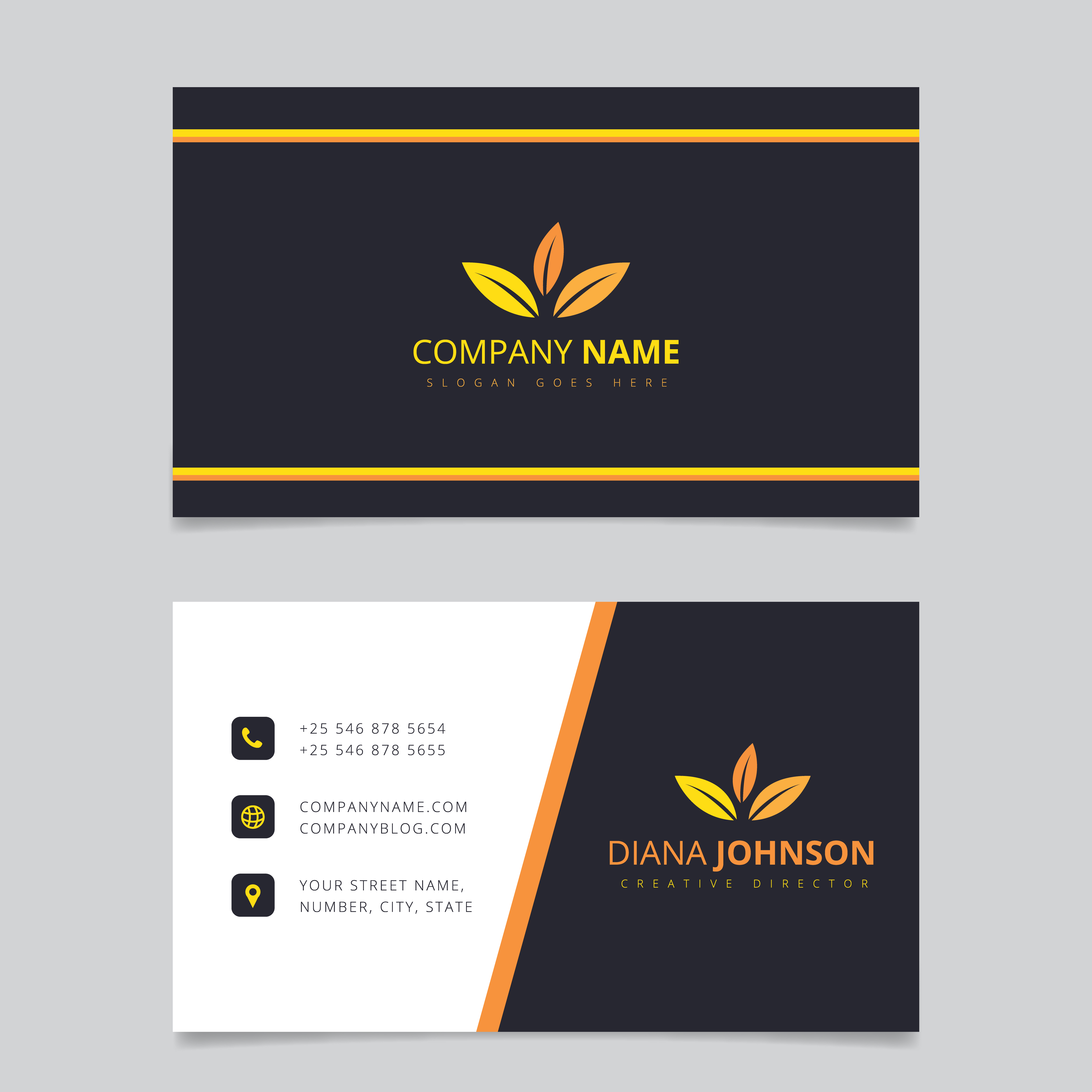 Modern simple business card vector template. Creative and ...
