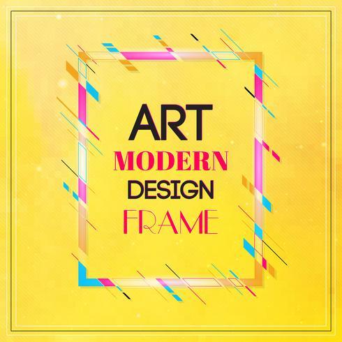 Blocco per grafici di vettore per la grafica di arte moderna del testo. Cornice dinamica con eleganti forme geometriche astratte colorate intorno ad esso su uno sfondo giallo. Linee di colore al neon alla moda in uno stile di design moderno.