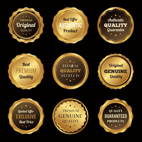 Emblemas de ouro de luxo e rótulos produto de qualidade premium