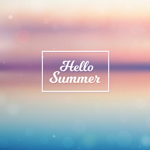 Suddig Hello Summer bakgrund, strand solnedgång