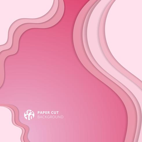 Abstract realistic soft pink paper cut background and textured with wavy layers