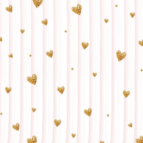 Gold glittering heart confetti seamless pattern on striped background