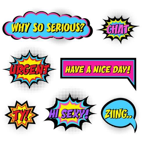Palabras de cómic. Conjunto de burbujas de discurso cómico