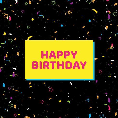 Grattis på födelsedagen kort med konfetti på svart bakgrund.