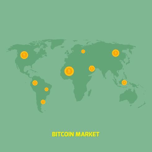 bitcoins on world map illustration - money transfer