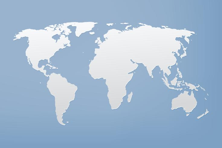 Grey world map on blue background vector
