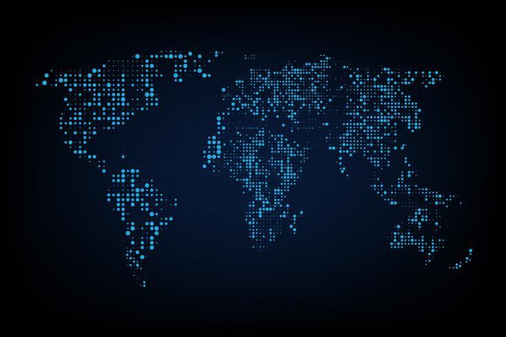 Mapa do mundo pontilhado. Mapa de mundo abstrato do gráfico de computador de pontos redondos azuis. Ilustração vetorial
