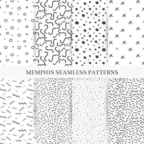Colección de muestras de patrones de memphis. Moda 80-90s. Texturas de mosaico en blanco y negro.