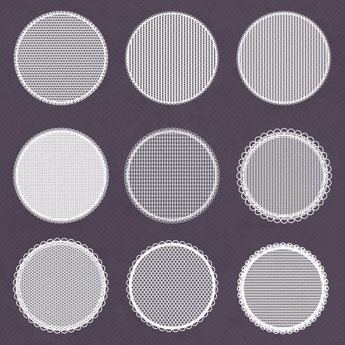 Cadres de dentelle décorative de vecteur. Modèles de napperon pour logo vecteur