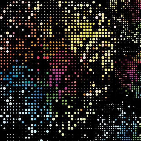 Fundo de pontos do arco-íris. Pontos coloridos no fundo preto